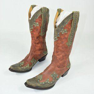 Gianni Bini tan studded cowboy boots heels 7.5